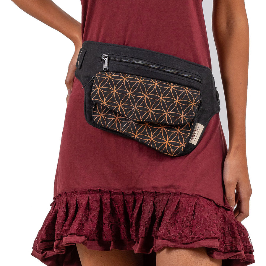Flower of Life Single Pocket Hip Bag - Ekeko Crafts
