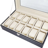 12 Compartments Leather Watch Collection Box
