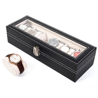6 Compartments High-grade Leather Watch Collection Storage Box
