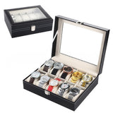 10 Compartments Leather Watch Collection Storage Box