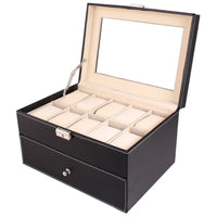 20 Compartments Dual Layers Elegant Wooden Watch Collection Box