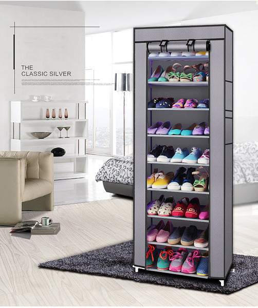 10-Layers 9 Lattices Non-woven Fabric Shoe Rack