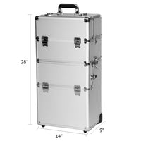 3-in-1 Aluminum Rolling Makeup Cosmetic Train Case Wheeled Box