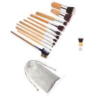 11pcs Bamboo Handle Cosmetic Makeup Brush Set