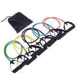 5 in 1 Natural Latex Fitness Resistance Bands Strength Training Set