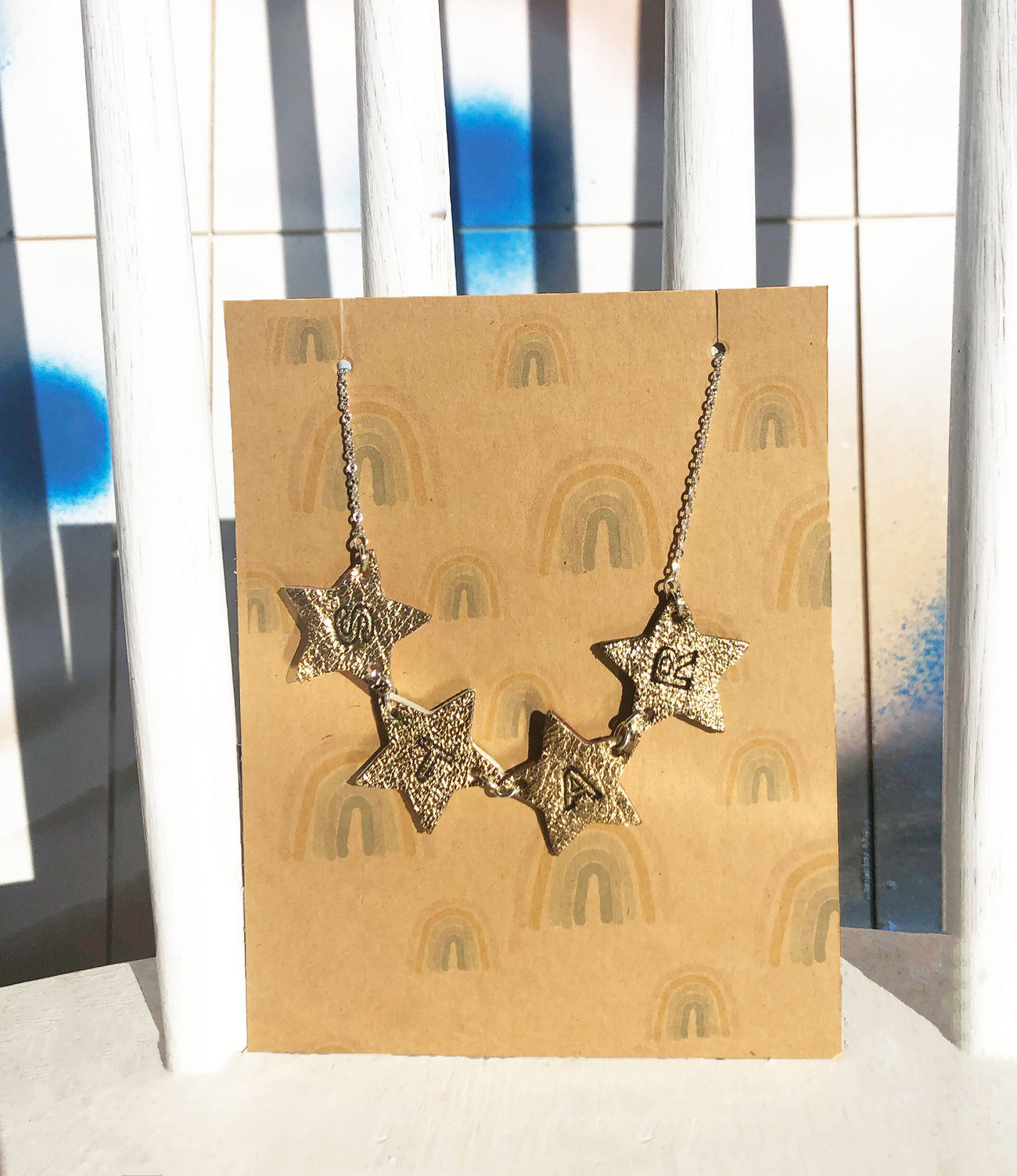 Double Sided Star Necklace Gold