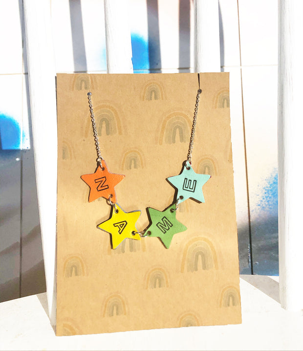Custom Name Necklace- Stars
