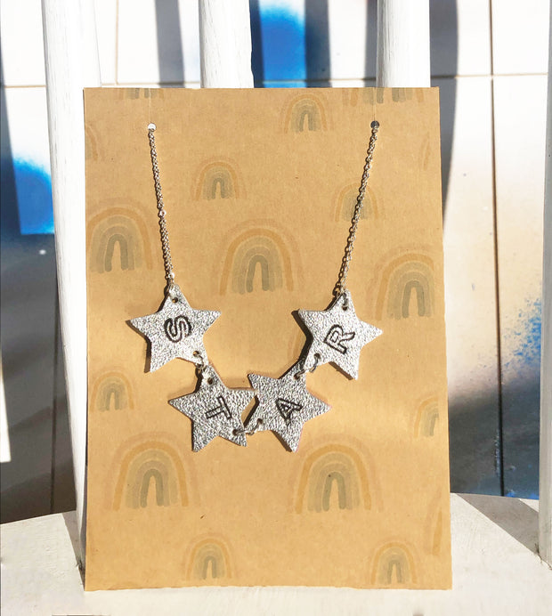 Double Sided Star Necklace Silver