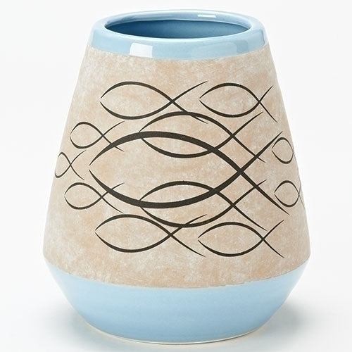 Ichthus Blue Vase Li10943 Michigan Church Supply