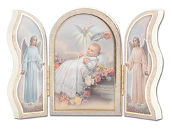 Gold Embossed White Baptism Triptych - TA1205W397