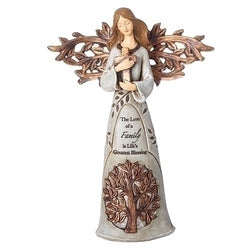 Angel Holding Cross with Tree of Life - LI12385