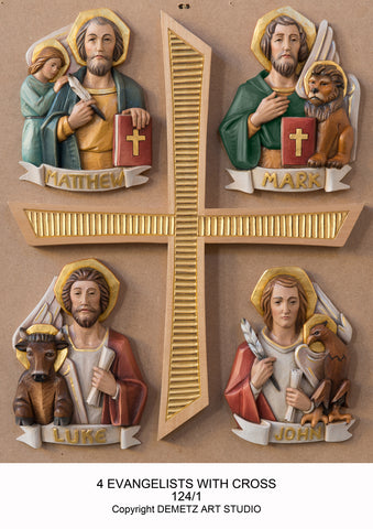Set of Four Evangelists Symbols with Cross -HD1241