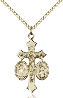 Jesus, Mary, Our Lady of La Salette Medal - FN6055GF18GF