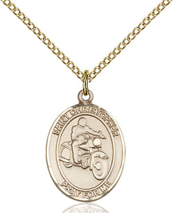 St. Christopher/Motorcycle Medal - FN8185GF18GF