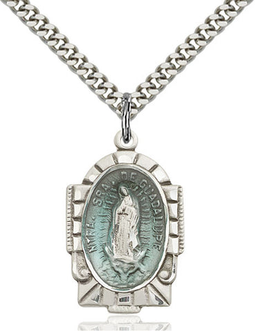 Our Lady of Guadalupe Blue Epoxy Pendan - FN2080ESS24S
