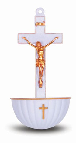 White Crucifix Holy Water Font-TA1922WH
