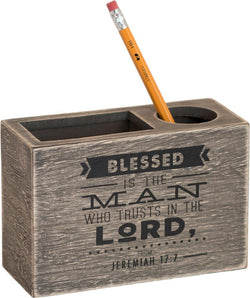 Blessed is The Man Wood Desk Organizer - CE20511