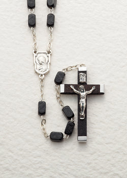 15-Decade Rosary Black Wood Beads on Chain - LA26001501