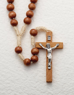 15-Decade Rosary Wood Beads on Light Cord - LA264915