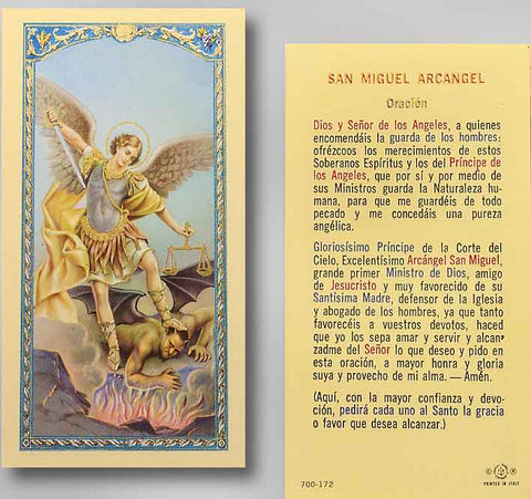 St Michael Oracion San Miguel Arcangel Ta700172 Spanish Michigan Church Supply