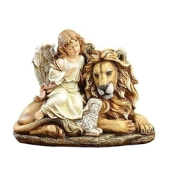"11.5"" Lion and Lamb with Angel - LI36936"