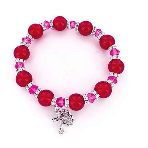 Red Glass Beaded Bracelet - WOSR4027RO