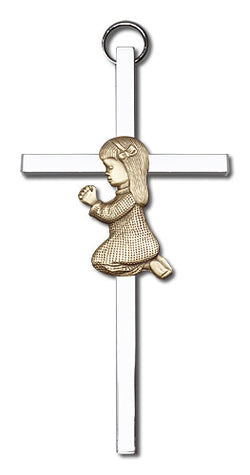 Personalized Praying Girl Silver Cross - FN4400GS