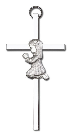 Personalized Praying Girl Silver Cross - FN4400SS