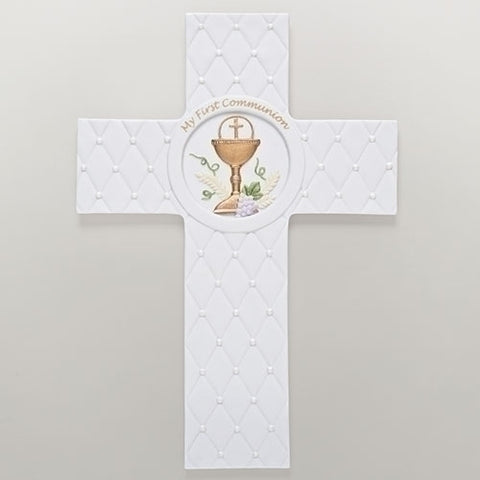 "8.25""H QUILTED CROSS FIRST COMMUNION - LI46087"