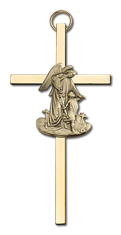 Personalized Guardian Angel Two-tone Brass Cross - FN4825G/G