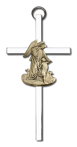 Personalized Guardian Angel Two-tone Silver Cross - FN4825G/S