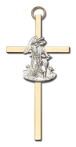 Personalize Guardian Angel Two-tone Brass Cross - FN4825S/G