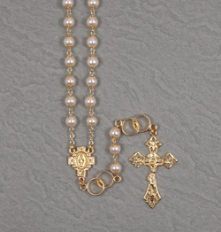 Gold Pearl Wedding Rosary - UL4850117