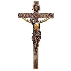 "Antique gold crucifix on cross  20"" - LI62143"
