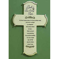God Sees Every Tear Wall Cross and Gift Card - EF47028