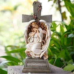 Angel with Cross Garden Statue - LI66276