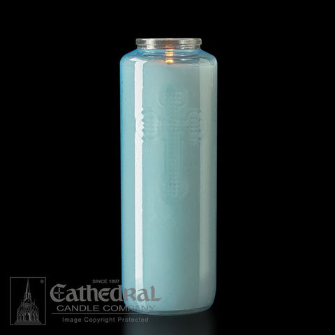 6-Day Light Blue Glass Offering Candles
