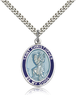 St. Christopher Blue Border Medal - FN7022BBSS24S