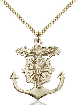 Anchor Crucifix Medal - FN5685GF18GF