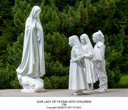 Our Lady of Fatima with 3 Children and 2 Sheep - HD739