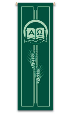 ALPHA-OMEGA AND WHEAT BANNER - WN7127