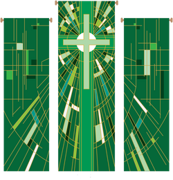 Modern Cross Green 3 Piece Banner Set - WN766-75079