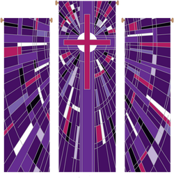 Modern Cross Purple 3 Piece Banner Set - WN766-75089