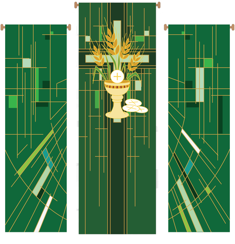 Chalice with Wheat 3 Piece Banner Set - WN766-75159