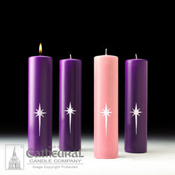 "Star of the Magi™ Advent Candles - Stearine - 3"" x 12"" - 3 Purple, 1 Rose"