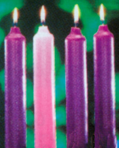 Solid Composition Wax Advent Candles - 3 purple, 1 rose - HE82400/HE82600
