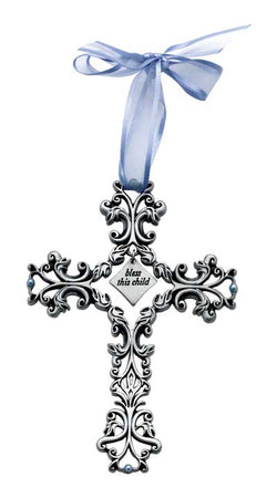 Bless this Child Baby Cross(Blue Ribbon)- GEFC302
