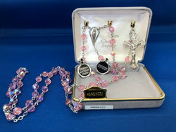 Pink Crystal Rosary-FNR9559LRSS