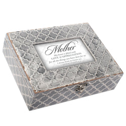 Exquisitely Embossed Grey Moroccan Music Box - Mother - GPEMBGMTHOU