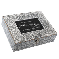 Exquisitely Embossed Grey Music Box - GPEMBGRGRACE